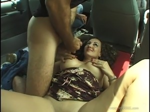 Reality porn model gets fucked in car and takes cumshot after oral