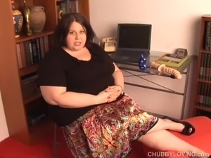 Beautiful BBW brunette talks dirty and gets her tits out