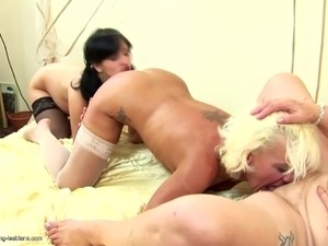 Pregnant girl fucked by two mature moms
