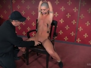 Bald headed chick with small tits Abigail Dupree gets punished in the red room