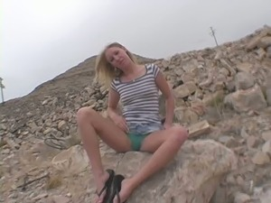 Sporty and tight blonde babe tries poking herself in the ass for the first time