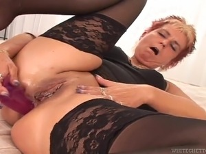 Lewd granny Jana gets her old ass pounded and creampied by a black guy