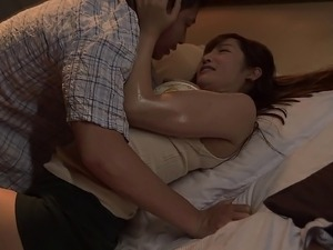 Skinny Japanese gal moans hard as the guy explores her depths
