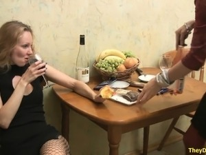 Two ladies drink and get drunk, then start eating out some pussy