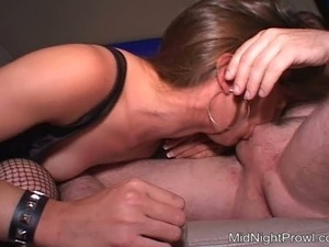 Trashy white hoe in fishnets Angie sucks dick and gives rimjob