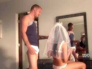 A bride leaves her veil on while sucking cock and getting fucked