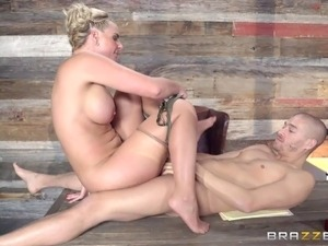Flamboyant blonde boss wants to have her pussy drilled hard!