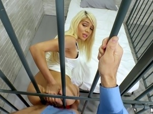 Blonde inmate is rewarded for her good behavior with a nice dick