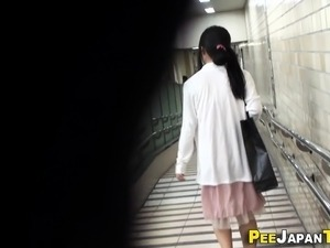 Bizarre asian pees public