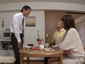 Accepting matured Asian dame getting fucked doggystyle before giving her guy...