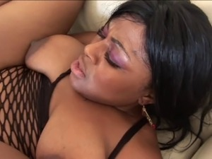 Black girl gets her ass jizzed after sucking cock and getting pussy fucked