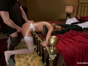Blonde girl in wedding dress get tied up and gangbanged