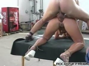 Super busty blonde whore gets brutally analfucked doggy in the factory