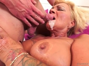 Chubby granny fucked in her hairy vagina by his big cock