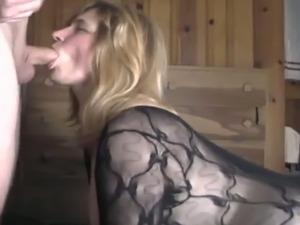 Blonde milfie deepthroats my cock and fucks doggystyle
