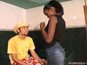 Black babe Chantal goes down on his white meat and gets screwed