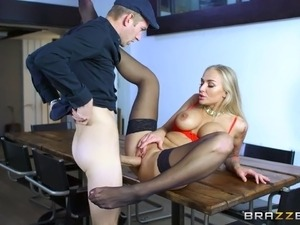 Gorgeous blonde wife shared with a big cock guy