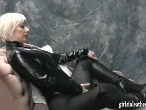 Hot kinky babes tease in sexy leather boots and finger pussy