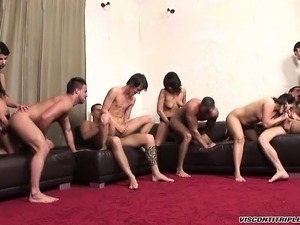 Jimmy Visconti gets into a naughty orgy with guys and bimbos