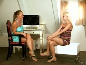 Beautiful blonde Carol strips and masturbates juicy shaved muff spreading...
