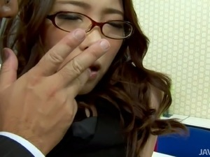 Horny Japanese chick Ibuki sucks hard cock in the office