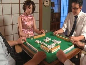 Asian wife playing mahjong gets fucked hard in a threesome