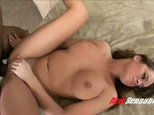 Black horny guy doggy fucks sweet white chick Nichole Heiress greedily