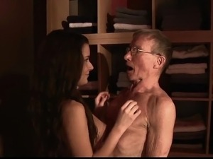 Teen fucks old grandpa blows his dick and eats cum