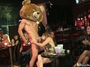 Milfs' party in the club transforms into a wild cock-sucking action