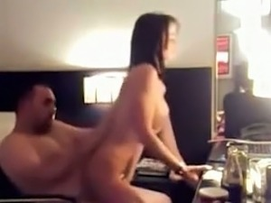 Extremely sexy brunette bitch with big hooters rides my hard dick