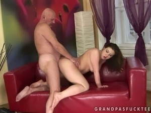 Chubby brunette hottie is getting rammed bad in her twat fucking in hardcore...