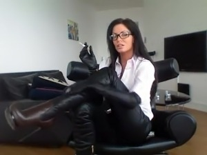 Milf In Glasses Smoking In Sexy Boots