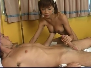 Tranny nurse gets fucked and takes facial