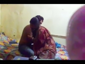 Horny Indian man caressing slim body of his gf