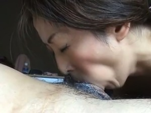 Elegantly hot Asian chick keeps sucking even after he cums