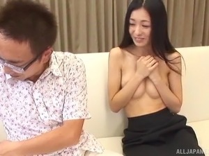 During an interview the hot Asian manager fucks the interviewee