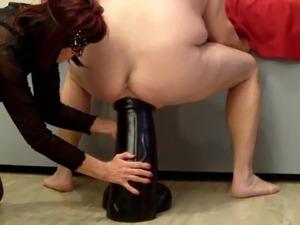 Biggest hugest XXXL anal dildo 15x60cm destroys ass