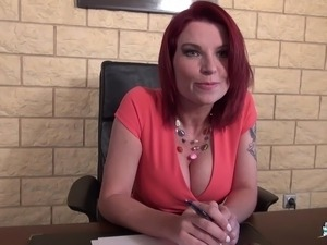 La Cochonne - French redhead fucks on a desk in her office