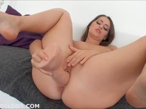 Big dildo and dildo on fucking machine
