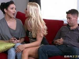 Blonde MILF deepthroats and rides a dude's aching big dick