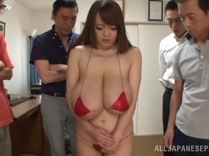 Asian babe with big tits gets toyed and gang banged hardcore in this POV scene