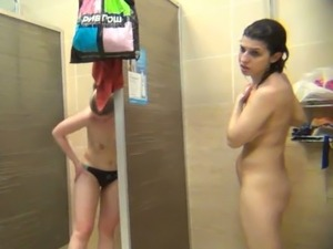 Random girls got caught on spy camera taking shower