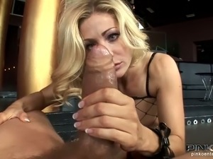 This Italian whore in fishnet dress works on big cock