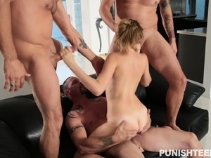 Naughty young slut gets punished for bad behavior by three hung guys