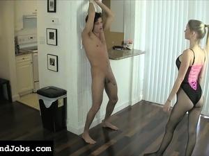Vanessa Vixen working her feet and her hands on Lance Hart's big dick