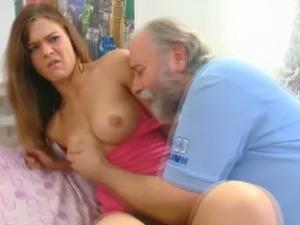 Alyona the slutty redhead gets seduced by an old man