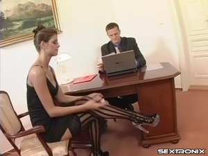 Leggy secretary slut in striped stockings fucked hardcore