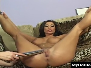 Fake tits lesbian widening legs when refined with nice toy