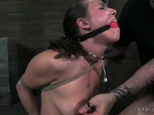 Nice ass bondage damsel stripteased seductively in BDSM porn