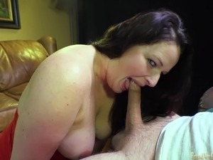 Amateur slut giving head and swallowing POV